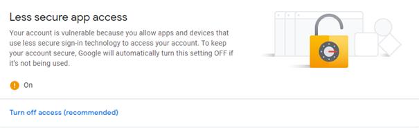 Prikaz opcija za Gmail - Less secure app
