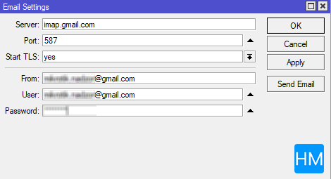 Prikaz email postavki na Mikrotiku